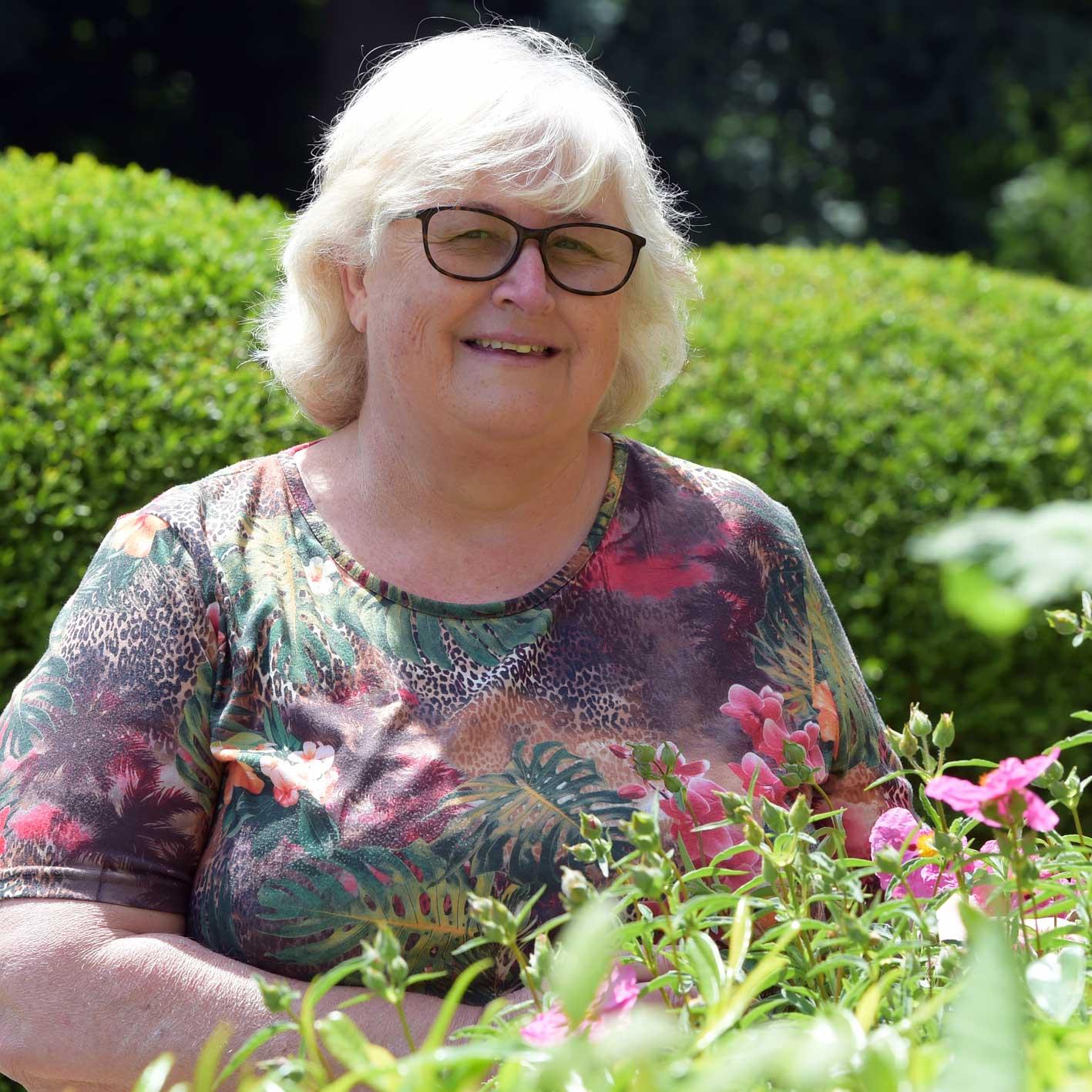 Helen Petrie in the garden